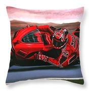 Casey Stoner on Ducati Throw Pillow by Paul Meijering