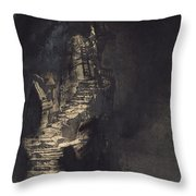 Casquets Lighthouse Throw Pillow by Victor Hugo