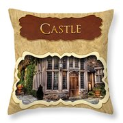 Castle Button Throw Pillow by Mike Savad