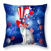 Cat In Patriotic Hat Throw Pillow by Carol Cavalaris