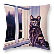 Cat On Window Sill Throw Pillow by John Malone