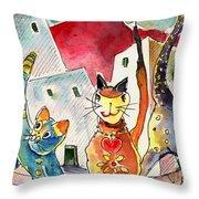 Cat Town In Lanzarote Throw Pillow by Miki De Goodaboom