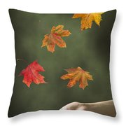 Catching Leaves Throw Pillow by Amanda Elwell