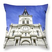 Cathedral-basilica Of St. Louis King Of France Throw Pillow by Paul Velgos