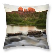 Cathedral Rock At Red Rock Throw Pillow by Peter Carroll