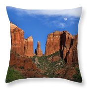 Cathedral Rock Moon Rise Color Throw Pillow by Dave Dilli