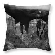 Cathedral Rock Moon Rise Throw Pillow by Dave Dilli