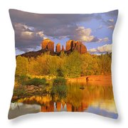 Cathedral Rock Reflected In Oak Creek Throw Pillow by Tim Fitzharris