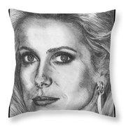 Catherine Deneuve In 1976 Throw Pillow by J McCombie
