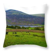 Cattle Grazing At Buttermere Throw Pillow by Joan-Violet Stretch