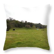 Cattles At Fernandez Ranch California - 5d21124 Throw Pillow by Wingsdomain Art and Photography