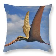 Cearadactylus Atrox, A Large Pterosaur Throw Pillow by Sergey Krasovskiy