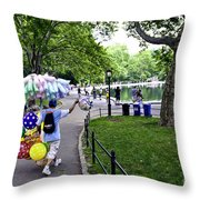 Central Park Balloon Man Throw Pillow by Madeline Ellis