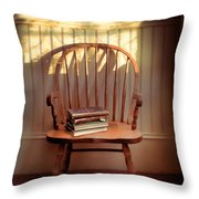 Chair And Lace Shadows Throw Pillow by Jill Battaglia
