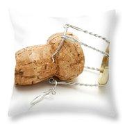 Champagne Cork Stopper Throw Pillow by Fabrizio Troiani