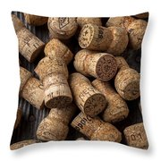 Champagne Corks Throw Pillow by Garry Gay