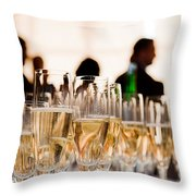 Champagne Glasses At The Party Throw Pillow by Michal Bednarek