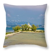 Chapel On Small Island In Posedarje Throw Pillow by Brch Photography