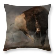 Charging Bison Throw Pillow by Daniel Eskridge