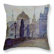 Charles Bridge Prague Throw Pillow by Xueling Zou