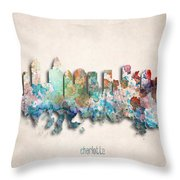 Charlotte Painted City Skyline Throw Pillow by World Art Prints And Designs