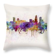 Charlotte Skyline In Watercolor Background Throw Pillow by Pablo Romero