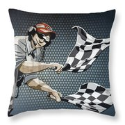 Checkered Flag Grunge Color Throw Pillow by Frank Ramspott