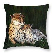 Cheetahs Throw Pillow by LaVonne Hand