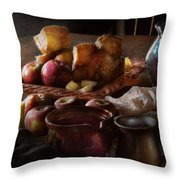 Chef - Food - A Tribute To Rembrandt - Apples And Rolls  Throw Pillow by Mike Savad