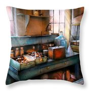 Chemist - Making Glue Throw Pillow by Mike Savad