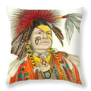 Cherokee in Orange Throw Pillow by Lew Davis