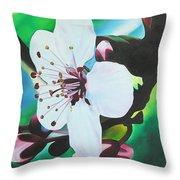 Cherry Blosom Throw Pillow by Joshua Morton