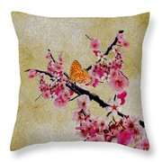 Cherry Blossoms Throw Pillow by Cheryl Young