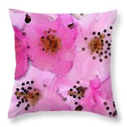 Cherry Blossoms - Flowers So Pink Throw Pillow by Sharon Cummings
