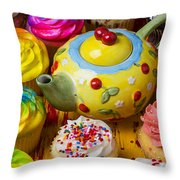 Cherry Teapot And Cupcakes Throw Pillow by Garry Gay