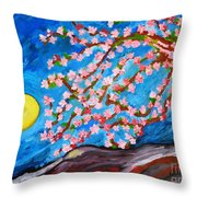 Cherry Tree In Blossom  Throw Pillow by Ramona Matei