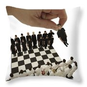 Chess Being Played With Little People Throw Pillow by Darren Greenwood
