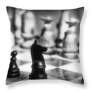 Chess Game in black and white Throw Pillow by Paul Ward