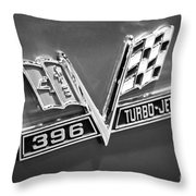 Chevy 396 Turbo-jet Emblem Black And White Picture Throw Pillow by Paul Velgos