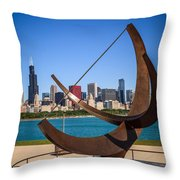 Chicago Adler Planetarium Sundial And Chicago Skyline Throw Pillow by Paul Velgos