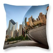 Chicago Bean Cloud Gate Sculpture Reflection Throw Pillow by Paul Velgos