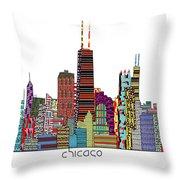 Chicago City  Throw Pillow by Bri B