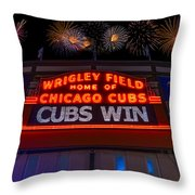 Chicago Cubs Win Fireworks Night Throw Pillow by Steve Gadomski