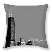Chicago Hancock Building - Pewter Throw Pillow by DB Artist