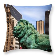 Chicago Lion Statues At The Art Institute Throw Pillow by Paul Velgos