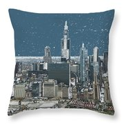 Chicago Looking West In A Snow Storm Digital Art Throw Pillow by Thomas Woolworth