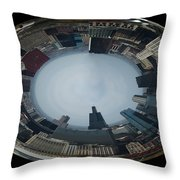 Chicago Looking West Polar View Throw Pillow by Thomas Woolworth