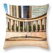 Chicago Millennium Monument in Wrigley Square Throw Pillow by Paul Velgos