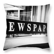 Chicago Newspapers Stand Sign In Black And White Throw Pillow by Paul Velgos
