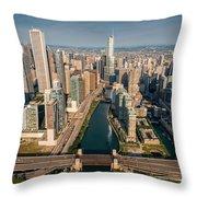 Chicago River Aloft Throw Pillow by Steve Gadomski